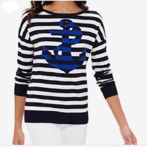 THE LIMITED preppy nautical anchor stripe sweater